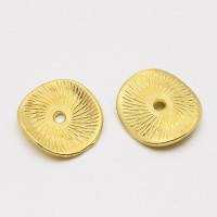 15mm Textured Disk Beads, Gold Tone