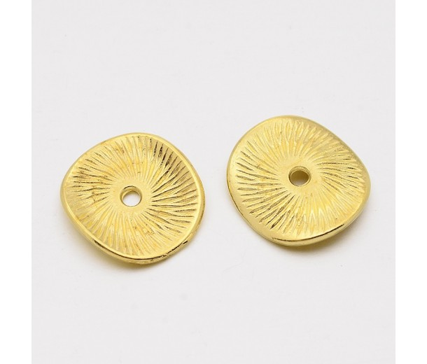 15mm Textured Disk Beads, Gold Tone, Pack of 20