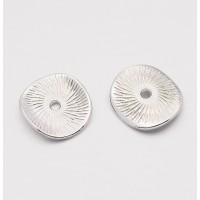 15mm Textured Disk Beads, Silver Tone, Pack of 20
