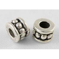 6mm Beaded Barrel Beads, Antique Silver