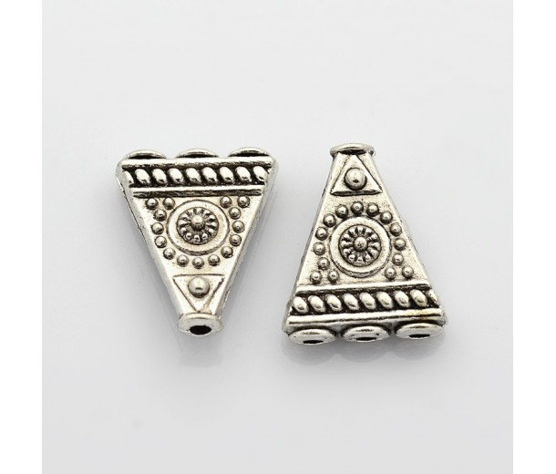 17mm Tibetan Style 3-Hole Triangle Beads, Antique Silver, Pack of 5