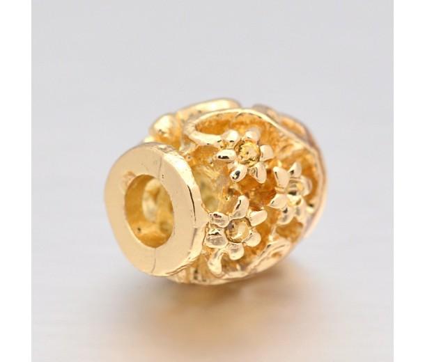 10mm Ornate Flower Design Hollow Barrel Beads, Gold Tone