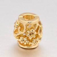 -10mm Ornate Flower Design Hollow Barrel Beads, Gold Tone, Pack of 5