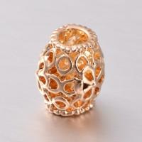 11mm Cutout Design Hollow Barrel Beads, Gold Tone, Pack of 5