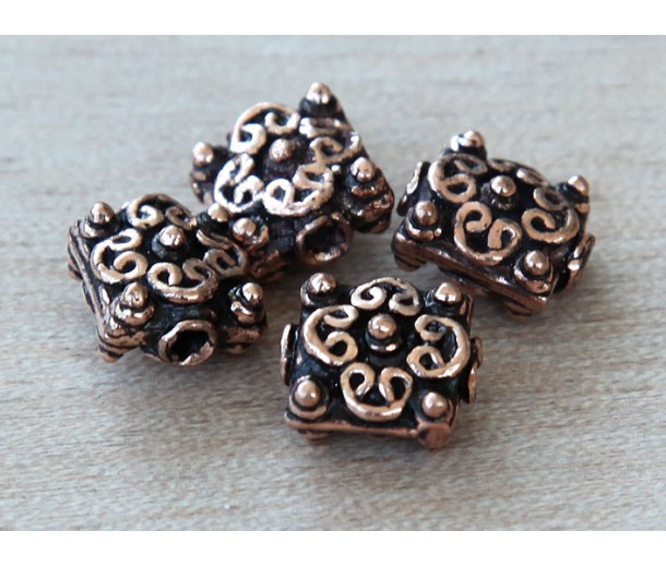 10mm Puff Square Genuine Copper Beads, Bali Style