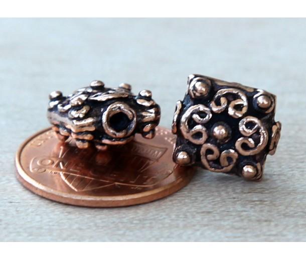 10mm Puff Square Genuine Copper Beads, Bali Style