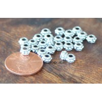 5mm Rondelle Spacer Beads, Antique Silver, Pack of 100