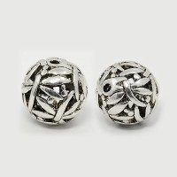 14mm Ornate Hollow Bead, Antique Silver