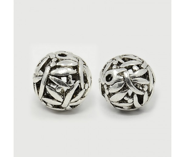 14mm Ornate Hollow Bead, Antique Silver, 1 Piece
