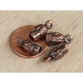 14x6mm Leaf Cord Ends for 2.5 - 3mm Cord, Bronze Plated