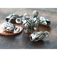 14x6mm Leaf Cord Ends for 2.5mm Cord, Antique Silver, Pack of 8