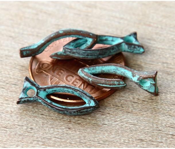 16mm Rustic Fish Hook Clasp, Green Patina