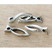 16mm Rustic Fish Hook Clasp, Antique Silver