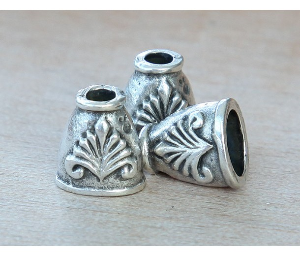 12mm Ancient Greek Style Bead Caps, Antique Silver