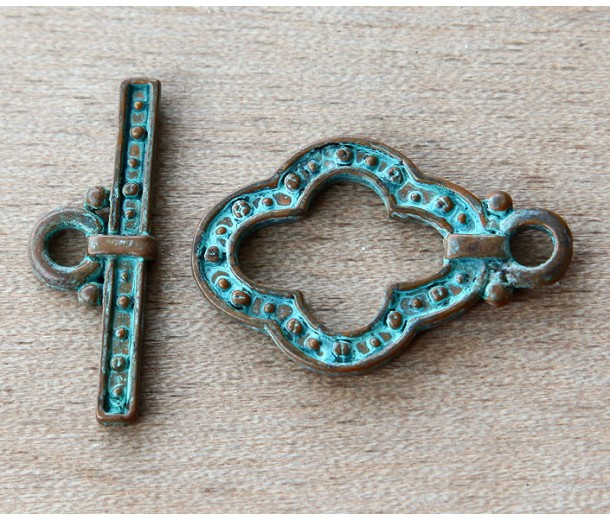 30mm Medieval Style Toggle Clasps, Green Patina, Pack of 2 Sets