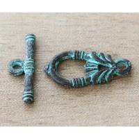 28mm Ancient Greek Style Toggle Clasps, Green Patina, 1 Set