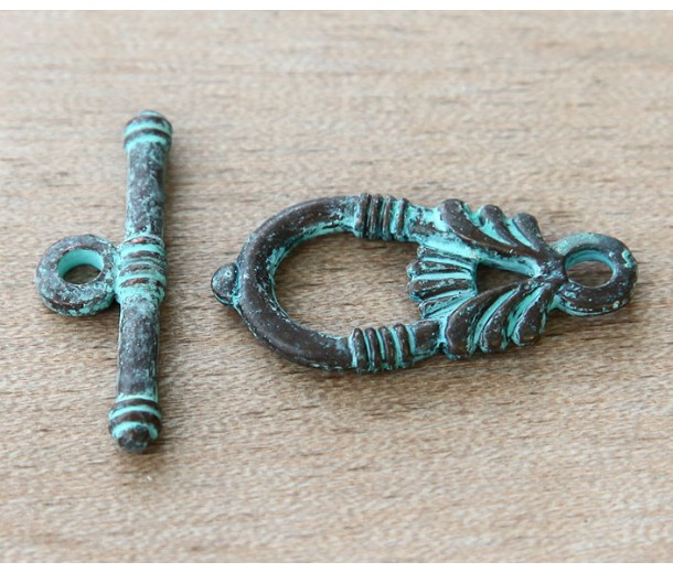 28mm Ancient Greek Style Toggle Clasps, Green Patina, Pack of 2 Sets
