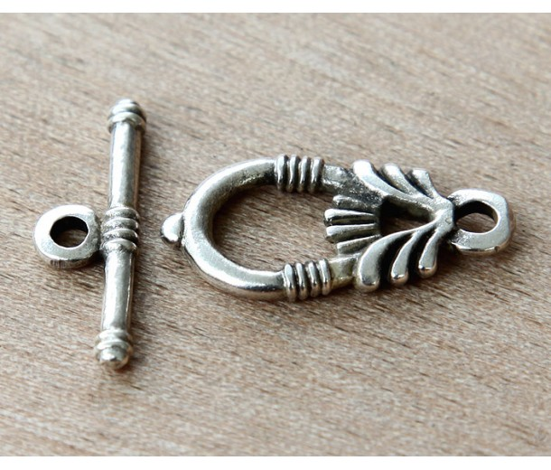 28mm Ancient Greek Style Toggle Clasps, Antique Silver, 2 Sets