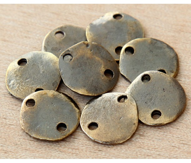 14mm Flat Round 2-Hole Links, Antique Brass, Pack of 8