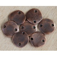14mm Flat Round 2-Hole Links, Bronze Plated, Pack of 5