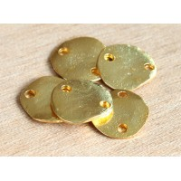 14mm Flat Round 2-Hole Links, Gold Plated