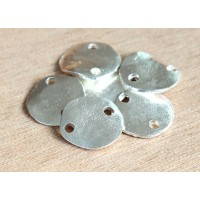 14mm Flat Round 2-Hole Links, Silver Plated