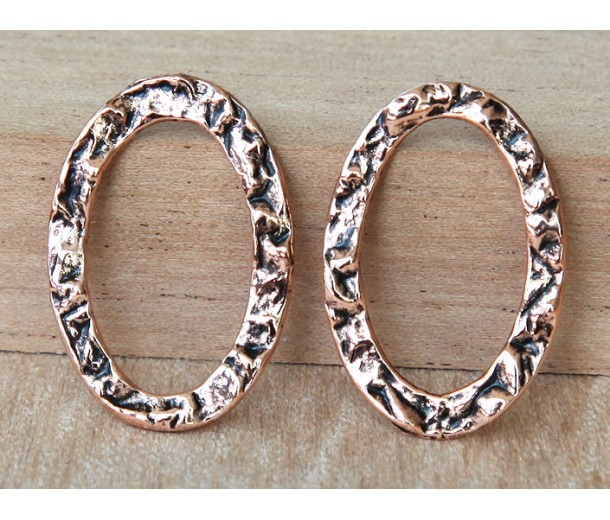 17x25mm Textured Linking Rings, Antique Copper, Pack of 4