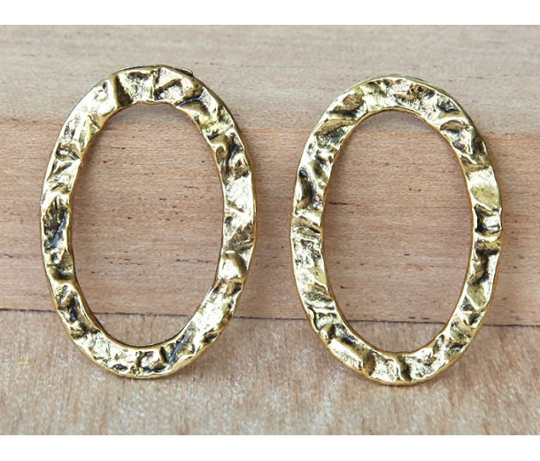 17x25mm Textured Linking Rings, Antique Gold