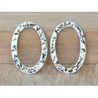 17x25mm Textured Linking Rings, Antique Silver, Pack of 4