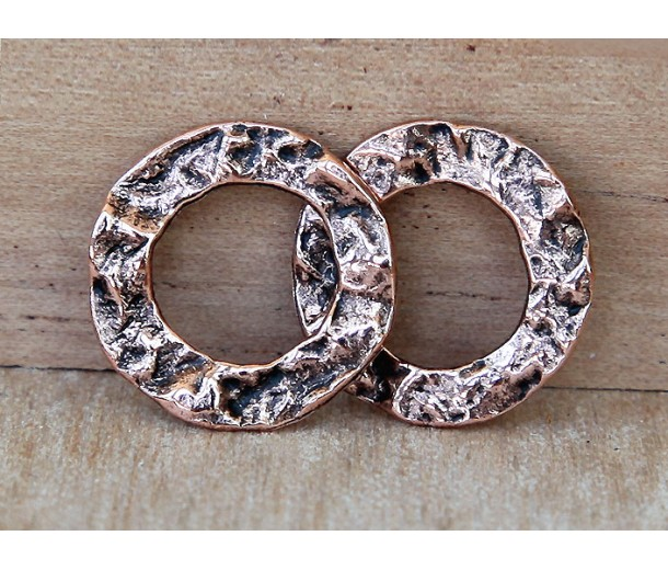 16mm Textured Linking Rings, Antique Copper