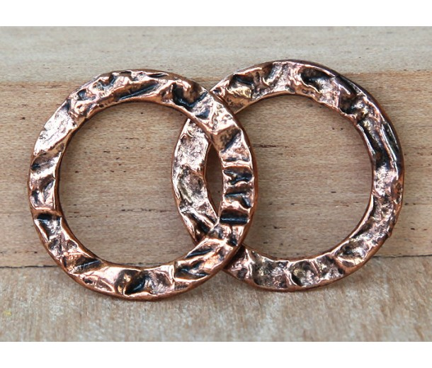 20mm Textured Linking Rings, Antique Copper