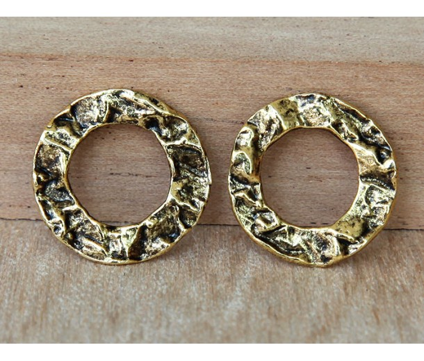 16mm Textured Linking Rings, Antique Gold