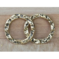 20mm Textured Linking Rings, Antique Gold