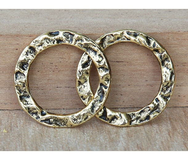 20mm Textured Linking Rings, Antique Gold, Pack of 4