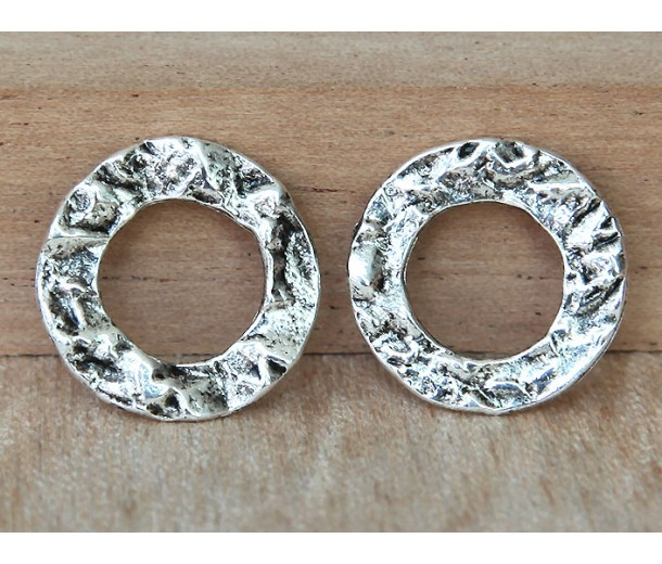 16mm Textured Linking Rings, Antique Silver, Pack of 6