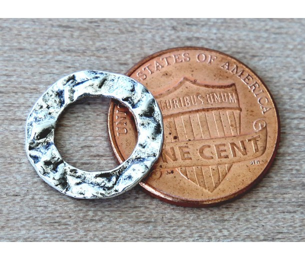16mm Textured Linking Rings, Antique Silver