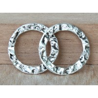 20mm Textured Linking Rings, Antique Silver