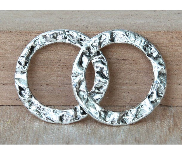 20mm Textured Linking Rings, Antique Silver, Pack of 4