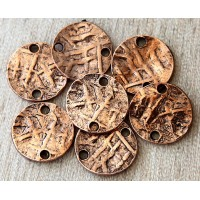 15mm Textured Disk Links, Antique Copper