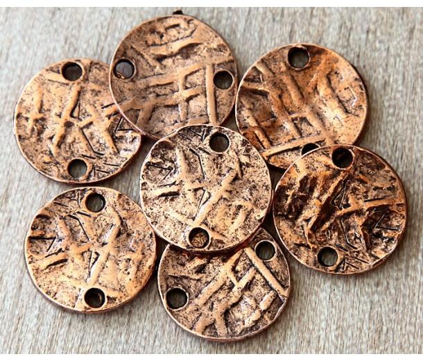 15mm Textured Disk Links, Antique Copper