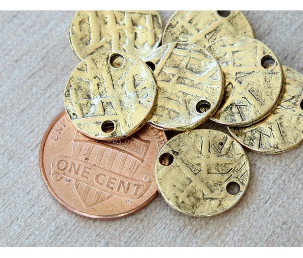15mm Textured Disk Links, Antique Gold, Pack of 6