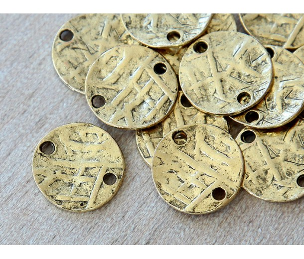 15mm Textured Disk Links, Antique Gold, Pack of 5