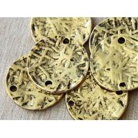 20mm Textured Disk Links, Antique Gold