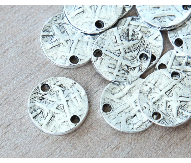 15mm Textured Disk Links, Antique Silver