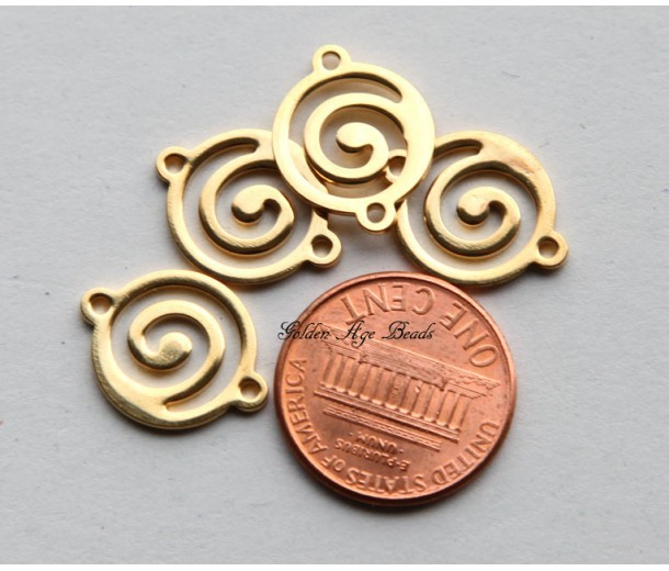 13x17mm Flat Swirl Links, Gold Plated
