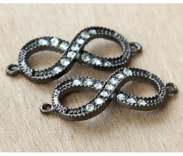 16x40mm Rhinestone Infinity Links, Black Finish