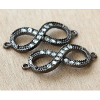 16x40mm Rhinestone Infinity Links, Black Finish, Pack of 4