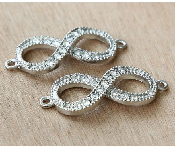 16x40mm Rhinestone Infinity Links, Platinum Tone, Pack of 4