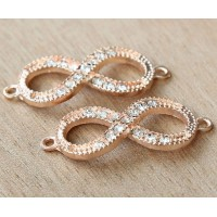 16x40mm Rhinestone Infinity Links, Rose Gold Tone, Pack of 4