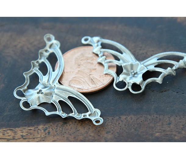 19x33mm Butterfly Connectors, Antique Silver